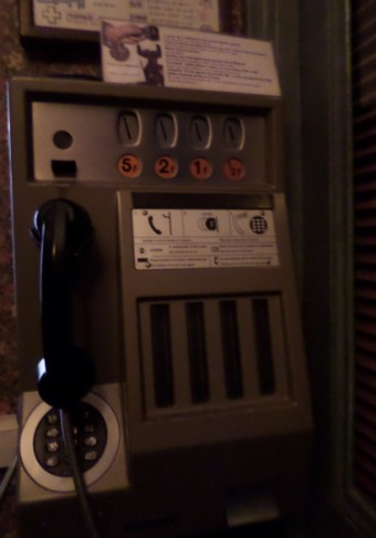 The pension payphone takes patience.